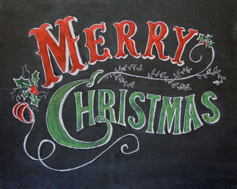 merry christmas chalkboard art print hand by