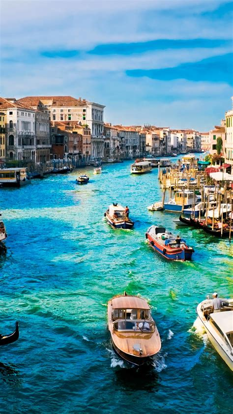 Beautiful Venice Italy Water Boats Blue Horizion Android
