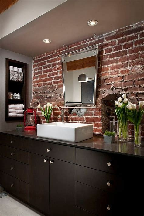 Modern Bathroom Backsplash by 30 Trendy Brick Accent Wall Ideas For Every Room Digsdigs