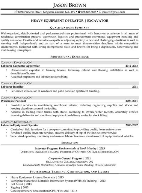 Heavy Equipment Operator Skills Resume by 14 Sle Heavy Equipment Operator Resume