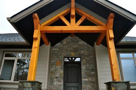 custom timber frame hybrid traditional entry