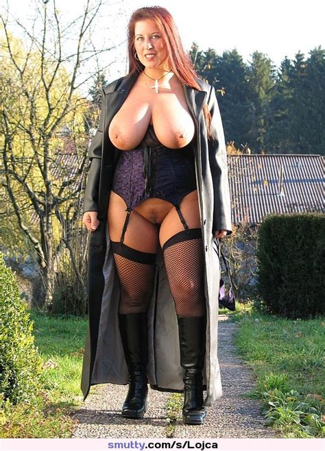 Femdom Mistress Lingerie Boots Fishnets Leathercoat