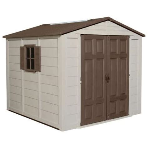 home depot suncast shed suncast 7 5 ft x 7 5 ft resin storage shed a01b02 the