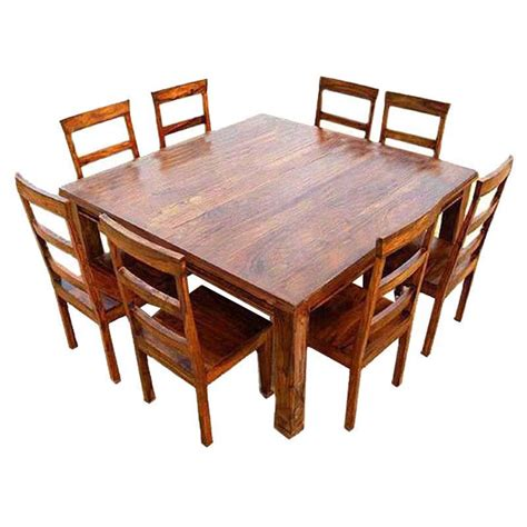 square dining table set appalachian wood rustic square 9pc dining table and chair