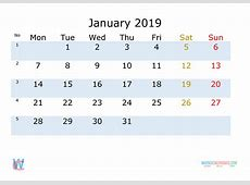 January 2019 Printable Monthly Calendar with Week Numbers