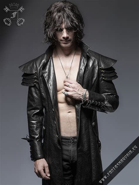 lycanthrope synthetic leather mens long coat  punk