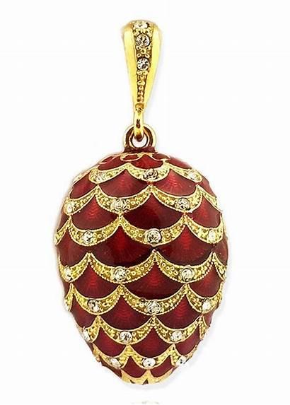 Faberge Egg Pendant Enameled Chain