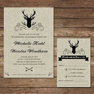 printable rustic deer wedding invitation with rsvp card With free printable deer wedding invitations
