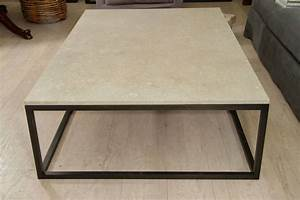 Seagrass stone top coffee table on blackened metal base for Metal coffee table with stone top