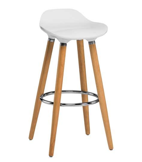 tabouret de bar design en bois et abs blanc wadiga