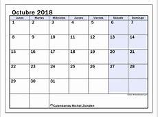 Calendario octubre 2018 57LD