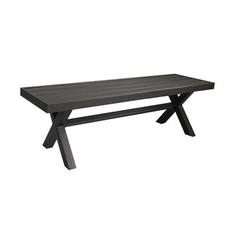 Black X Bench by 56 In W X 16 In L Black Steel Patio Bench At Lowes