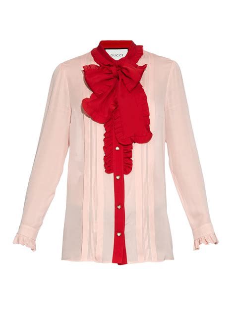 gucci blouse gucci ruffle trimmed silk crepe blouse in pink lyst