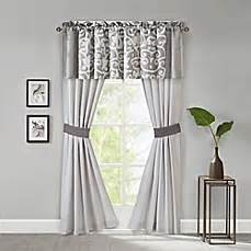 lotus window curtain panels and valance in grey white bed bath beyond