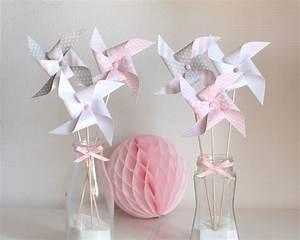 Moulin A Vent Deco Bapteme : 6 moulins vent gris rose et blanc accessoires de maison par latelierdesconfettis mb rose ~ Melissatoandfro.com Idées de Décoration