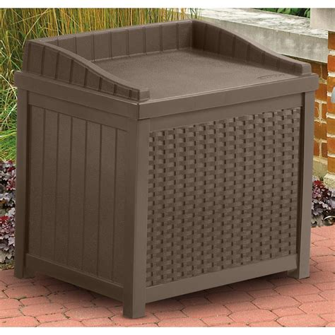 suncast 73 gal deck box suncast 174 resin wicker 22 gallon deck box 202213 patio