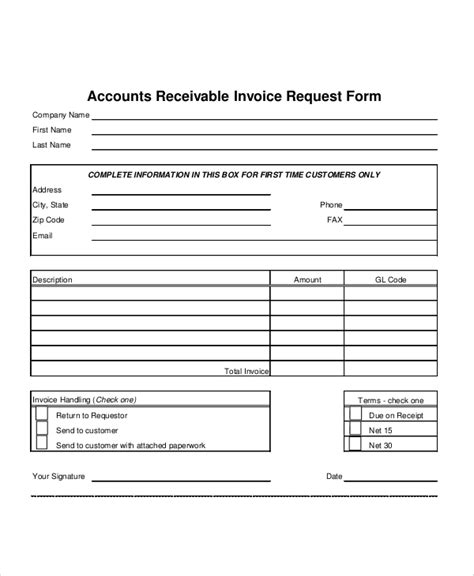 sample invoice request form  examples  word