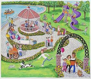 Park Scene Painting by Ilene Richard