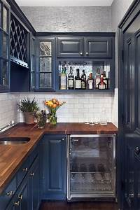 navy cabinets contemporary kitchen blair harris With best brand of paint for kitchen cabinets with blue wall art decor