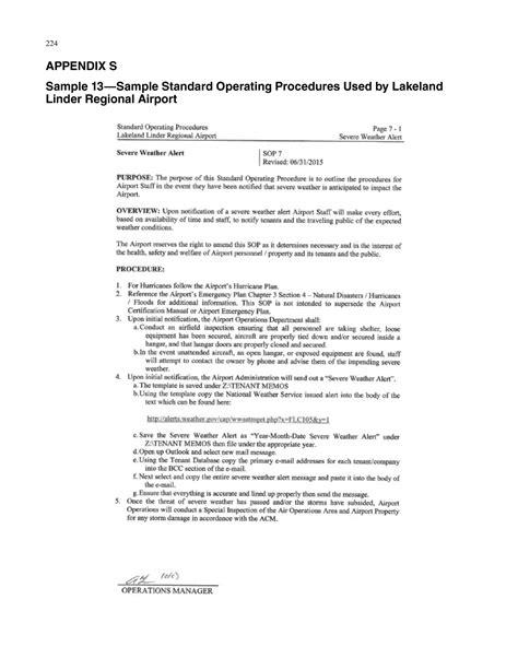 APPENDIX S Sample 13 Sample Standard Operating Procedures