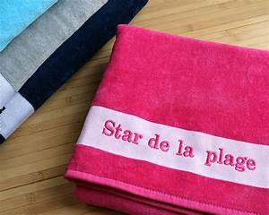Grande Serviette De Plage : grande serviette de bain brod e ~ Teatrodelosmanantiales.com Idées de Décoration