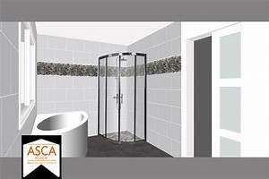 projets de salles de bains With porte de douche coulissante avec frise carrelage salle de bain
