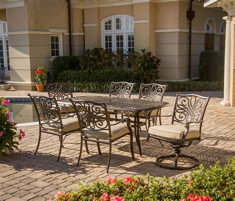 7 patio dining set hanover traditions 7 cushioned outdoor dining