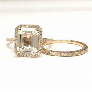 699 emerald cut white topaz engagement ring sets pave With 14k wedding ring sets