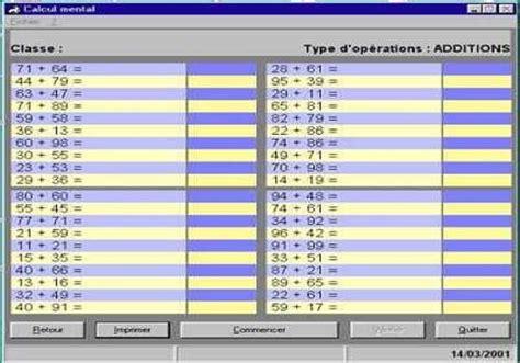 calcul mental tables de multiplication t 233 l 233 charger calcul mental pour windows freeware