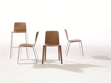 sled base wooden chair aava collection by arper design