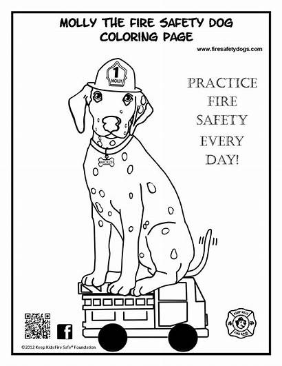 Safety Fire Coloring Pages Dog Preschool Printable