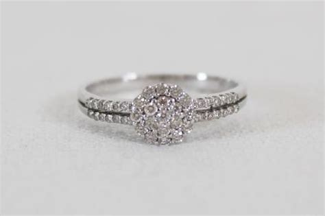 engagement rings reduced brand new 9ct white gold 0 32ct diamonds cluster engagement ring