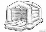 Castle Bouncy Drawing Line Paintingvalley Drawings sketch template