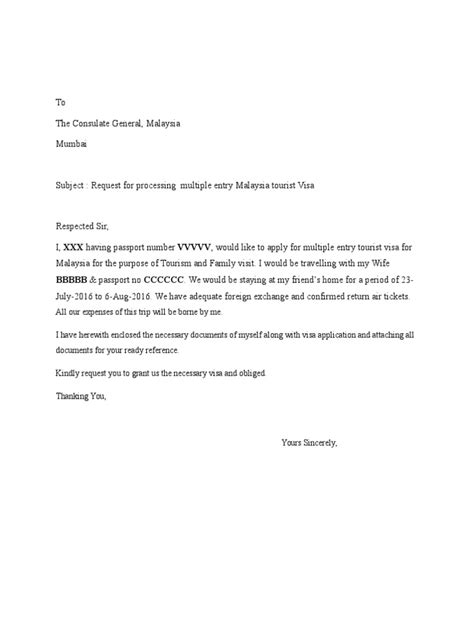 Request Letter For Malaysia Visa - How to write request
