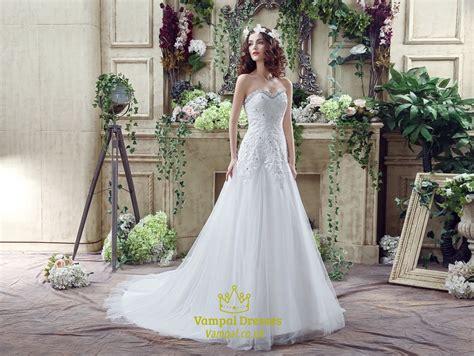Princess Sweetheart Beaded Lace Applique Wedding Dress