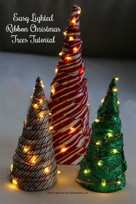 vertical ribbon on christmas tree easy lighted ribbon tree