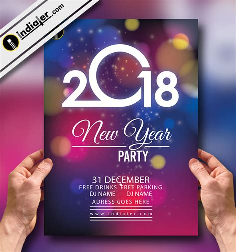 Colorful Flyer Psd Template Free Download by Happy New Year Colorful Party Flyer Vector Template Indiater