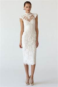 New-Arrival-Elegant-White-Lace-Tea-Length-Informal-Wedding ...