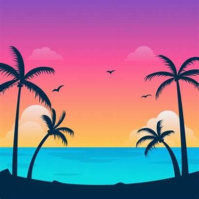 Coconut Tree Tropical Animated Sunset Sea Animation