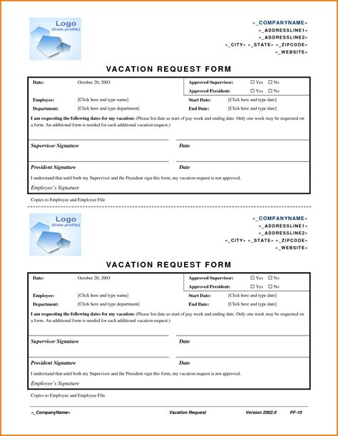 vacation request form template teplates   day