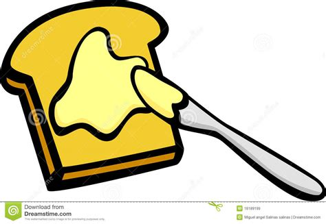 Toast With Butter And Knife Vector Illustration Royalty