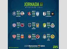 Fechas y horarios de la jornada 17 del Apertura 2017 de la