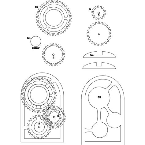 wooden gear clock dxf file   axisco
