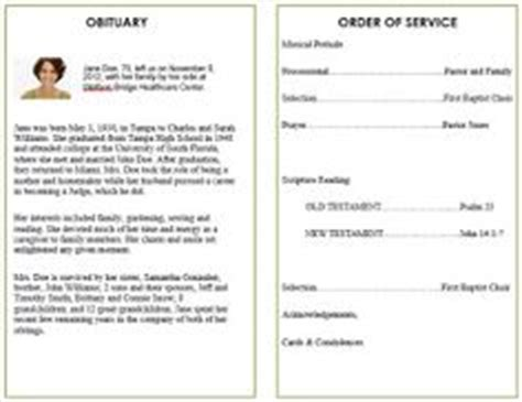 single fold funeral memorial program template  dad