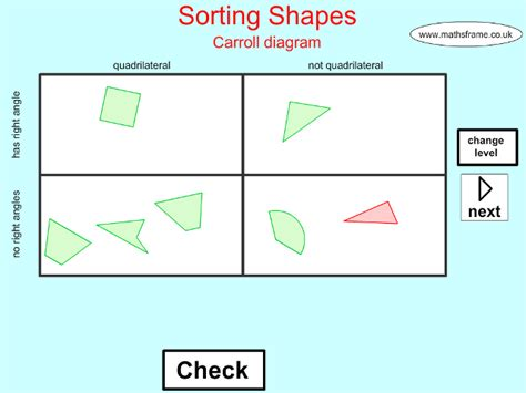 Sorting 2d shapes using a carroll diagram webnotex sorting and classifying mathsframe ccuart Image collections