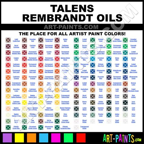 Grumbacher Oil Paints Color Chart