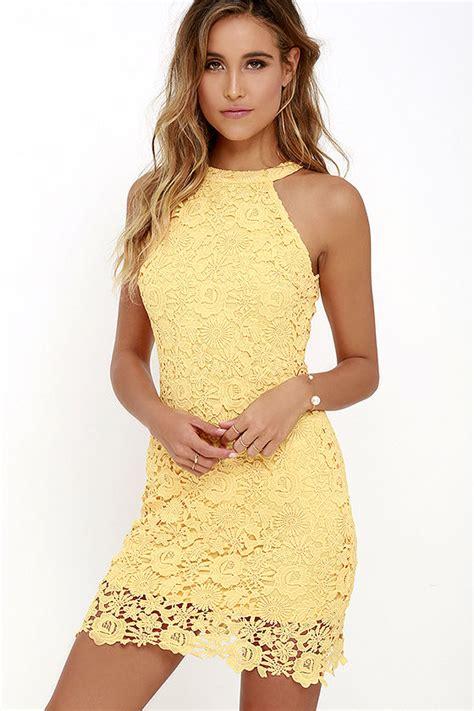 Lace Dress - Yellow Dress - Sleeveless Dress - $64.00