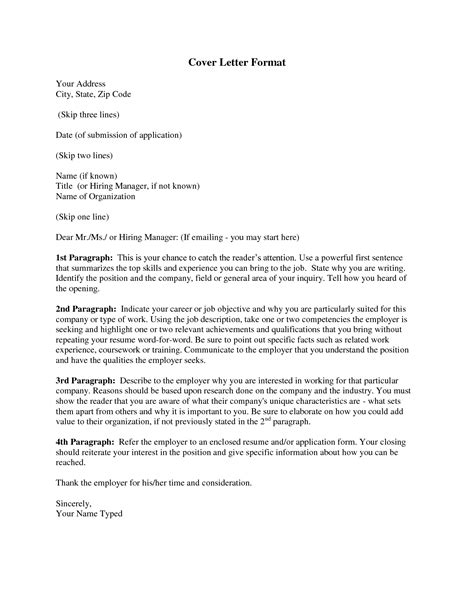 Application Cover Letter Format by Cover Letter Format For Personalizing Your Cover Letter