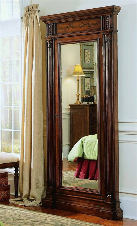 Floor Jewelry Armoire With Mirror wood jewelry armoire storage floor mirror from