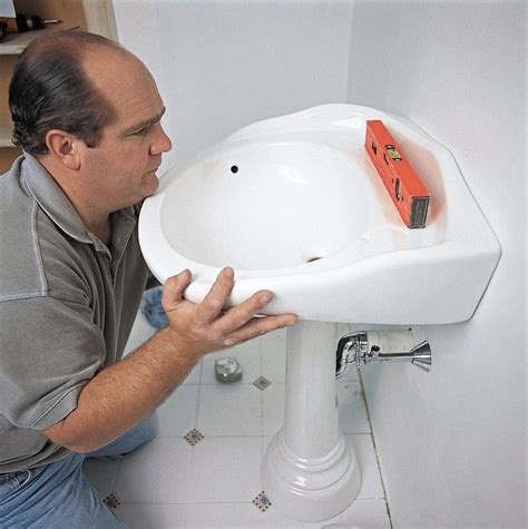 installing a pedestal bathroom sink how to install a pedestal sink this old house